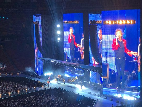 Mick Jagger is front and center on the massive video walls that are part of the Rolling Stones' No Filter U.S. tour for summer 2019, shown here on July 3, 2019 at FedEx Field in Landover, Md.