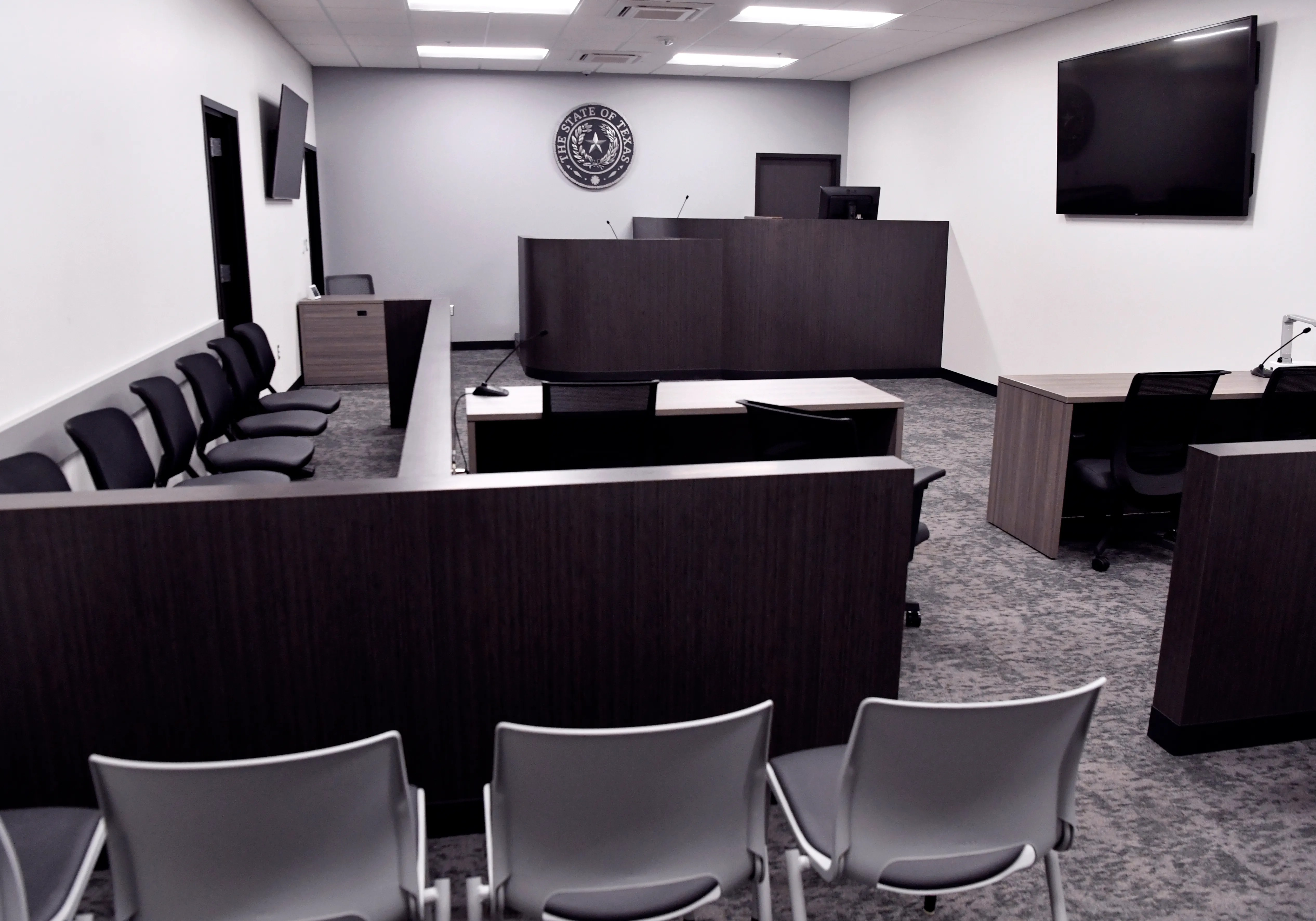The larger of the two courtrooms in the new Abilene Municipal Court offices.
