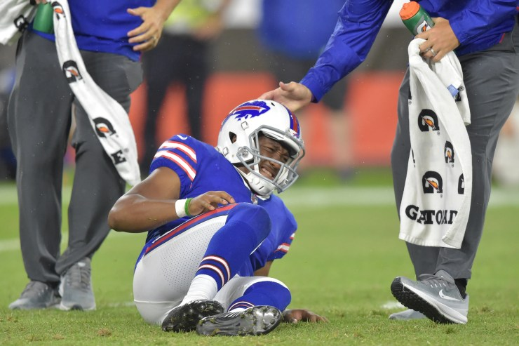Buffalo Bills punter Cory Carter suffered a knee injury in the preseason last summer.