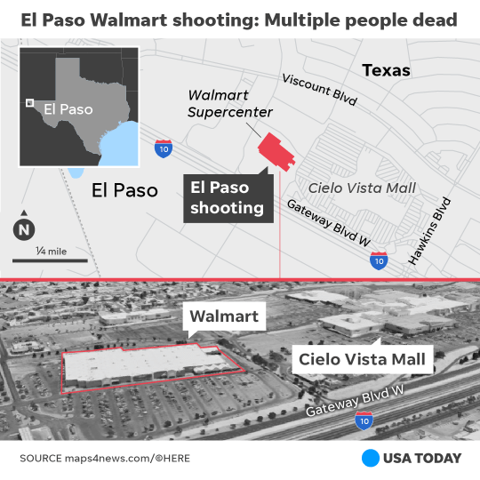 The deadly shooting at Walmart in El Paso took place Saturday, Aug. 3, 2019.