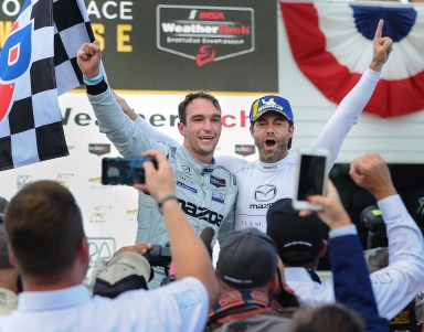 Mazda three-peats, but there was more than one stirring victory of the day in IMSA at Road America