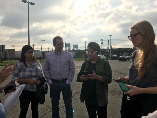 """""""Orange is the New Black"""" actors Vicci Martinez and Emily Tarver speak with Victor Salama and others from First Friends before heading inside a New Jersey jail to visit with immigrant detainees."""