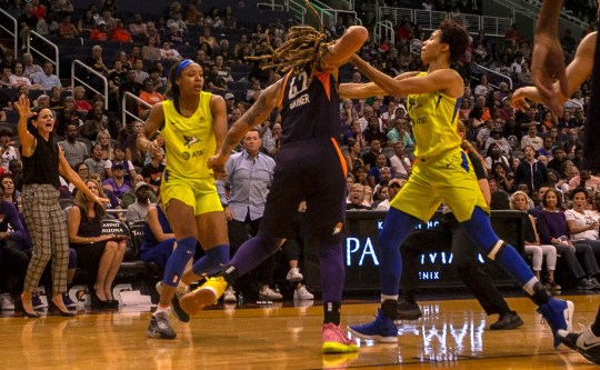 Mercury center Brittney Griner and Wings forward Kristine Anigwe were ejected, along with 4 other players, after a fight broke out halfway in the fourth quarter of the Phoenix Mercury against the Dallas Wings on August 10, 2019, at the Talking Stick Resort Arena in Phoenix, Ariz.