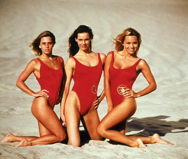 Pamela Andersons Baywatch Swimsuit Still Fits At  She Rocks It