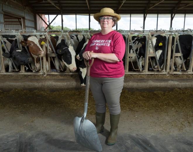 Dairy farmer Sarah Lloyd at her farm in Wisconsin Dells in 2019.