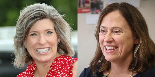Republican Sen. Joni Ernst, left, and Democrat Theresa Greenfield.
