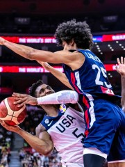 Team USA's in action against France's Louis Labeyrie during the FIBA World Cup quarterfinals.