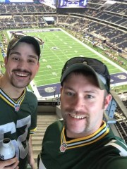 The native people of Oshkosh, Kevin Speigl (left) and Mike Frost are from their seats at AT & T Stadium in Dallas on October 8, 2017.