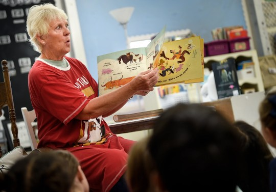 Nancy Delk reads a book to her grandson's second grade class during Granbery Elementary School's read-a-thon put-on by the PTO as a fundraiser Friday, Sept. 13, 2019 in Nashville, Tenn.