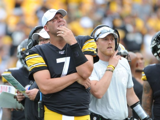 Steelers quarterback Ben Roethlisberger on the sidelines for the second half of Sunday's game against Seattle with an elbow injury that ended his season.