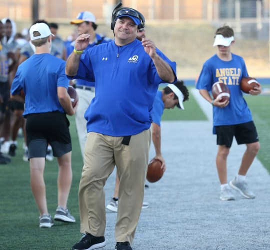 The head coach of Angelo State University, Jeff Girsch, reacted to the call during the Lone Star Conference match against Midwestern State University at LeGrand Stadium in Credit Community Field 1, Saturday, September 28, 2019.