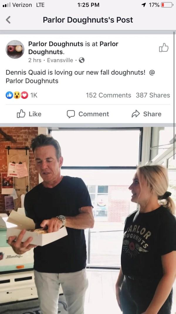 Dennis Quaid spotted at Evansville restaurant
