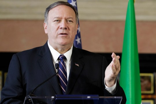"""U.S. Secretary of State Mike Pompeo meets the media in Rome, Oct. 2, 2019.  Pompeo confirmed that he was on the telephone call between President Donald Trump and the Ukrainian president that is the subject of an impeachment inquiry. """"I was on the phone call,"""" Pompeo told reporters in Rome."""