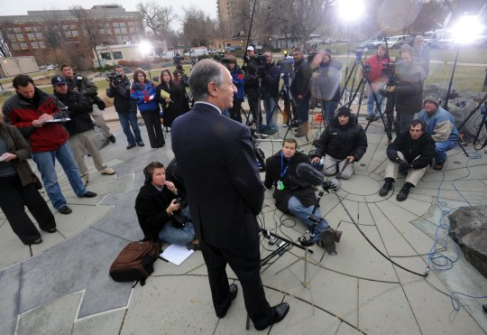 David Lane, attorney for Balloon Boy father Richard Heene, fields questions from the media after Heene plead guilty to attempting to influence a public official Nov. 13, 2009.