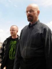 "Jesse Pinkman (Aaron Paul, left) and Walter White (Bryan Cranston) in Season 5 of AMC's ""Breaking Bad."""