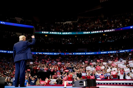 President Donald Trump takes the stage at a campaign rally at American Airlines Arena in Dallas, Texas, on Oct. 17, 2019.