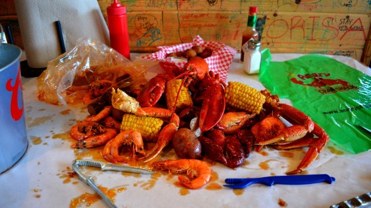Seafood boil at the Angry Crab Shack.