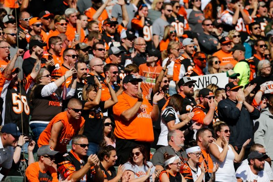 Cincinnati Bengals fans cheer as the Jaguars prepare to run a play on third and long in the first quarter of the NFL Week 7 game between the Cincinnati Bengals and the Jacksonville Jaguars at Paul Brown Stadium in downtown Cincinnati on Sunday, Oct. 20, 2019.