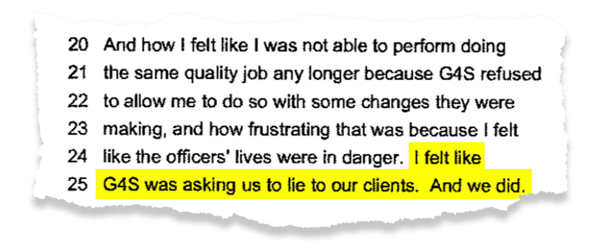 Kimberly Horton, an operations manager in Louisiana, testified in a 2016 lawsuit that G4S pushed her to quickly hire guards regardless of their qualifications.