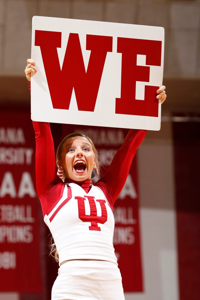 Nov. 9: Indiana Hoosiers cheerleaders perform during a game against the Portland Sate Vikings at Assembly Hall.
