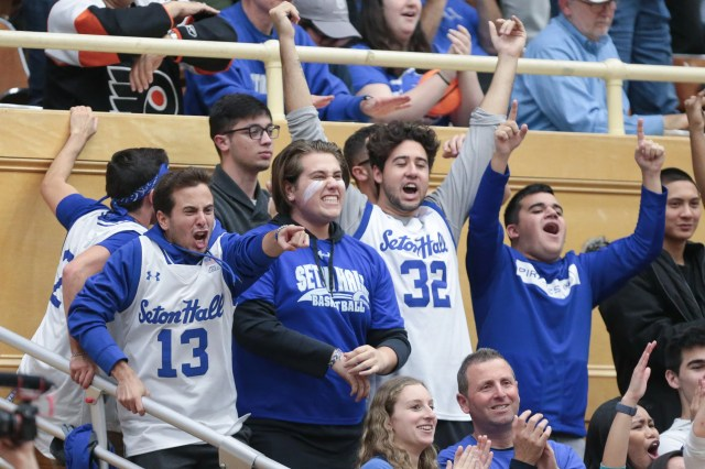 Nov. 9: Seton Hall Pirate fans cheer during the second half of a game against the Stony Brook Seawolves at Walsh Gymnasium.