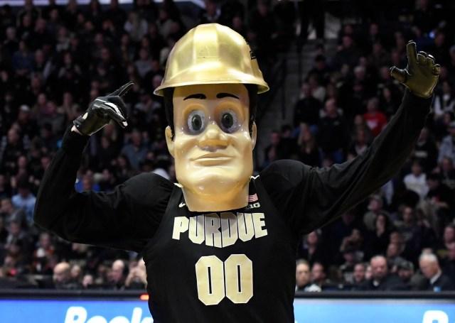 Nov. 9: Purdue Boilermakers mascot Pete performs against the Texas Longhorns at Mackey Arena.