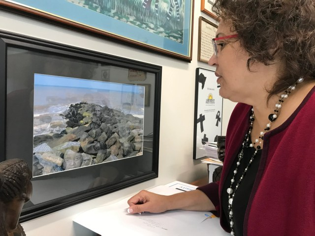 """Cassandra Newby-Alexander, a professor of history and College of Liberal Arts at Norfolk State University looks at a photograph entitled """"The Ancestors"""" by Elvira Welbeck inside her office on Friday, November 22, 2019 in Norfolk, Virginia."""