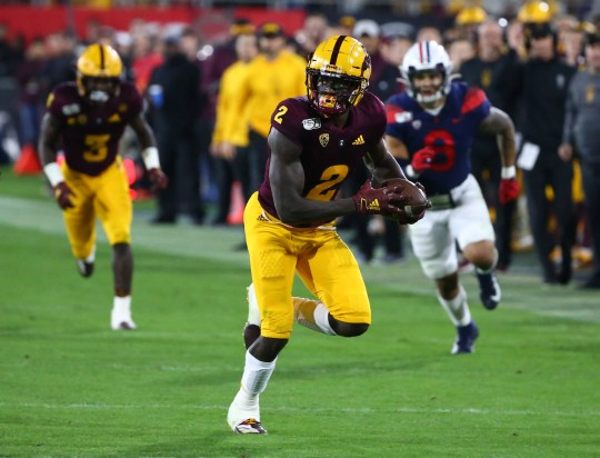 Arizona State Sun Devils wide receiver Brandon Aiyuk (2) is surging up NFL draft boards for the 2020 NFL draft.