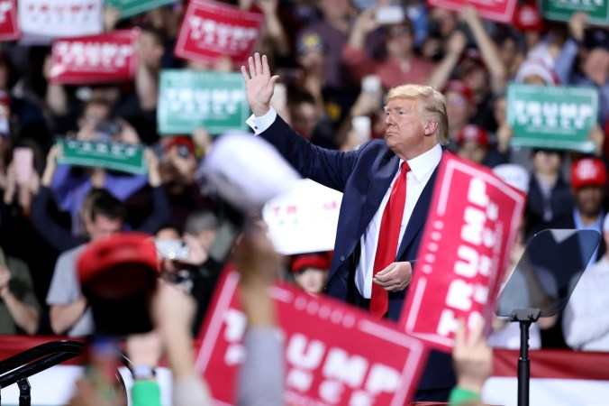 President Trump finished up a nearly 2 hour speech and waved to the crowd before leaving his Merry Christmas Rally at Kellogg Arena in Battle Creek, Michigan on Wednesday, December 18, 2019.