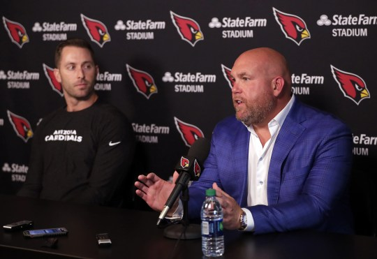 Cardinals coach Kliff Kingsbury (left) and General Manager Steve Keim look to be aggressive during the upcoming NFL draft.
