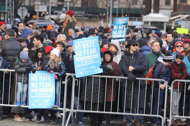 "Thousands gathered for the ""No Hate, No Fear Solidarity March"" in New York City Sunday. The rally comes after last weekend's stabbing attack at a Hanukkah celebration in Monsey, New York."