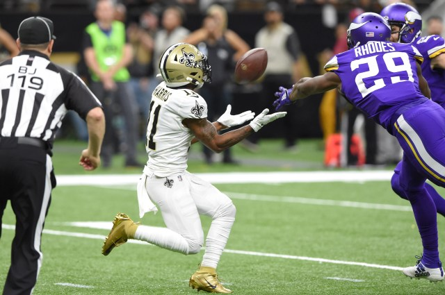 Saints wide receiver Deonte Harris catches a pass against the Vikings in the second quarter.