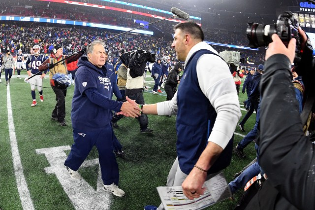 New England Patriots head coach Bill Belichick shakes hands with Tennessee Titans head coach Mike Vrabel after the Patriots lost to the Titans at Gillette Stadium.