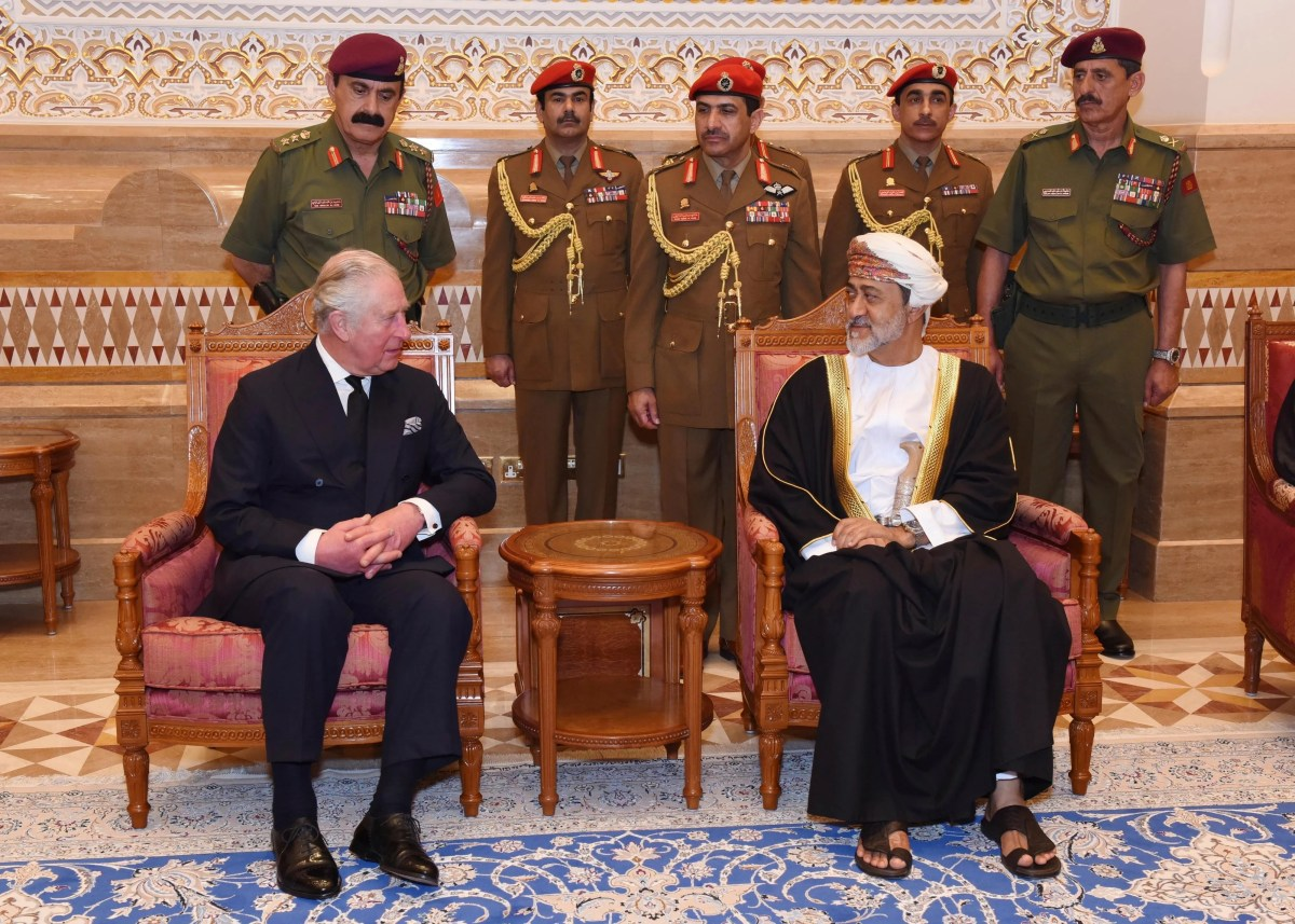 In this photo made available by the Oman News Agency, the new Sultan Haitham bin Tariq Al Said of Oman, on the right, receives the Prince of Wales after his arrival to attend the official mourning ceremony of Sultan Qaboos, in Muscat, Oman, Sunday, January 12. 2020