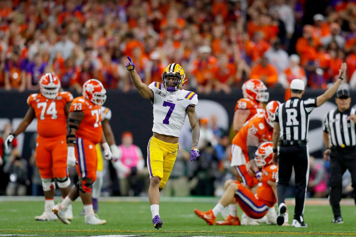 LSU defender Grant Delpit reacts after firing Clemson quarterback Trevor Lawrence during the first quarter of the national college football championship game at the Mercedes-Benz Superdome.