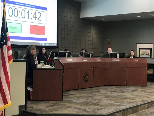 The Deer Valley Unified School District Governing Board hears public comments about the proposed changes in high school boundaries.