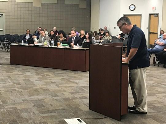 Nate Miller, an Arrowhead resident, speaks at the Deer Valley Unified School District meeting.