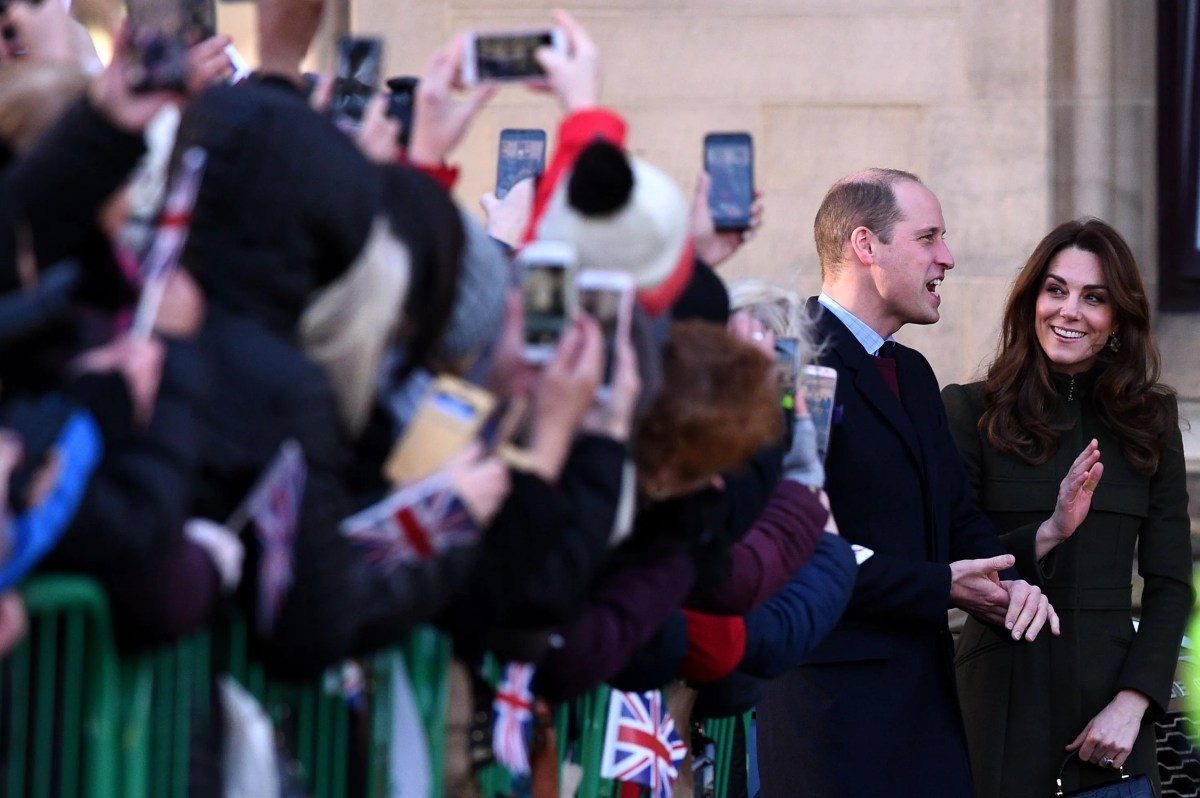 Prince William and Duchess Kate arrive for a visit to the City Hall in Centenary Square, Bradford, on January 15, 2020.