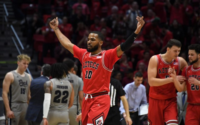 Jan 18, 2020; San Diego, California, USA; San Diego State Aztecs guard KJ Feagin (10) celebrates in the second half against the Nevada Wolf Pack at Viejas Arena. San Diego State won 68-55 to improve to 19-0 as the nations only undefeated team. Mandatory Credit: Kirby Lee-USA TODAY Sports