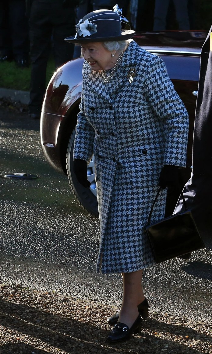 Queen Elizabeth II arrives for a religious service in the church of Saint Mary the Virgin in Hillington, Norfolk, east of England, on January 19, 2020.