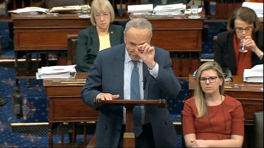 In this image from video, Senate Minority Leader Chuck Schumer, D-N.Y., offers an amendment regarding selective admission of evidence and handling of classified material during the impeachment trial against President Donald Trump in the Senate at the U.S. Capitol in Washington, Tuesday, Jan. 21, 2020. (Senate Television via AP) ORG XMIT: DCJE336