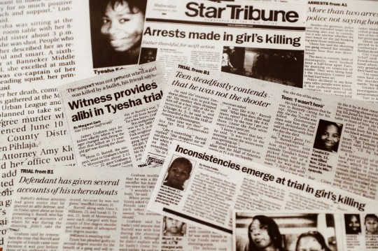A collection of newspaper clippings follow the progress of the murder trial against Myon Burrell in the stray-bullet killing of Tyesha Edwards, Thursday, Oct. 24, 2019, in Minneapolis. Burrell, convicted with no gun, fingerprints or hard evidence implicating him, has drawn a growing number of legal experts, community leaders and civil rights activists who are worried that a black teenager may have been wrongly convicted. (AP Photo/John Minchillo)
