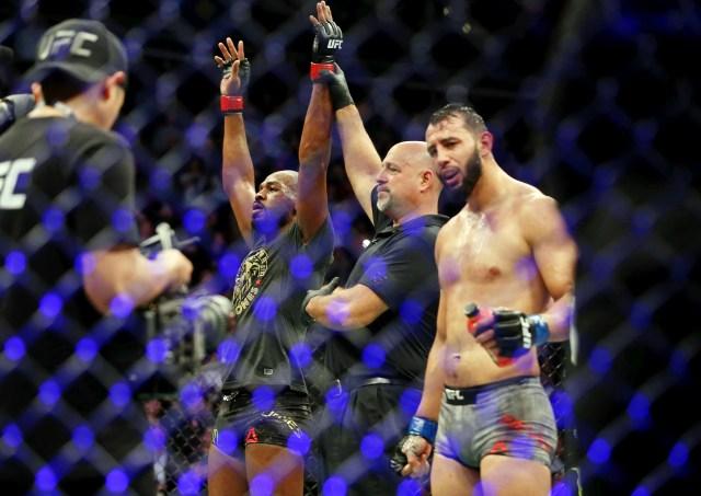 Jon Jones is declared the winner in the bout between him and Dominick Reyes.