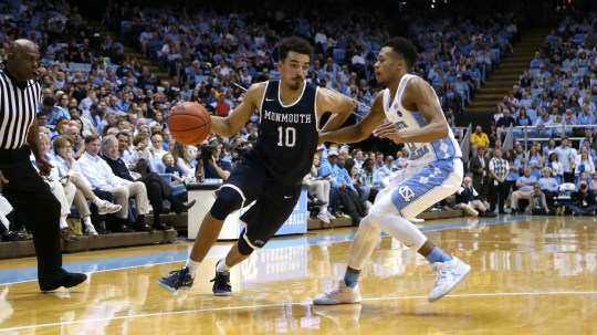 Monmouth guard Micah Seaborn drives to the basket in Chapel Hill, North Carolina on Dec. 28, 2016, when the Hawks played North Carolina. The Tar Heels come to play Monmouth in West Long Branch on Dec. 17, 2020.