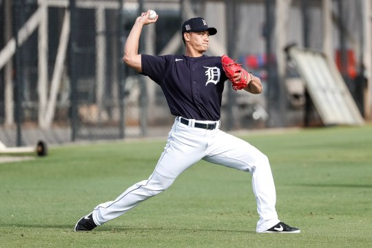 Pitcher Shao-Ching Chiang trains during spring training for the Detroit Tigers at TigerTown in Lakeland, Florida on Saturday February 15, 2020.