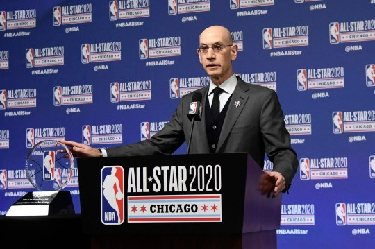 NBA Commissioner Adam Silver unveils the NBA All-Star Game Kobe Bryant MVP Award during a news conference Saturday, Feb. 15, 2020, in Chicago. (AP Photo/David Banks)