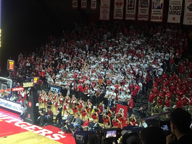 The student section inside the Rutgers Athletic Center has been akey factor in the Scarlet Knights' success at home this season.