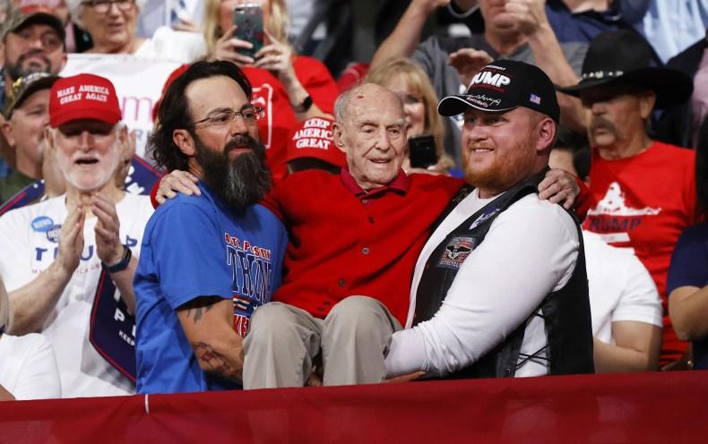 President Donald Trump recognizes a veteran in the crowd at a campaign rally at Veteran's Memorial Coliseum in Phoenix, Ariz. on Feb. 19, 2020.