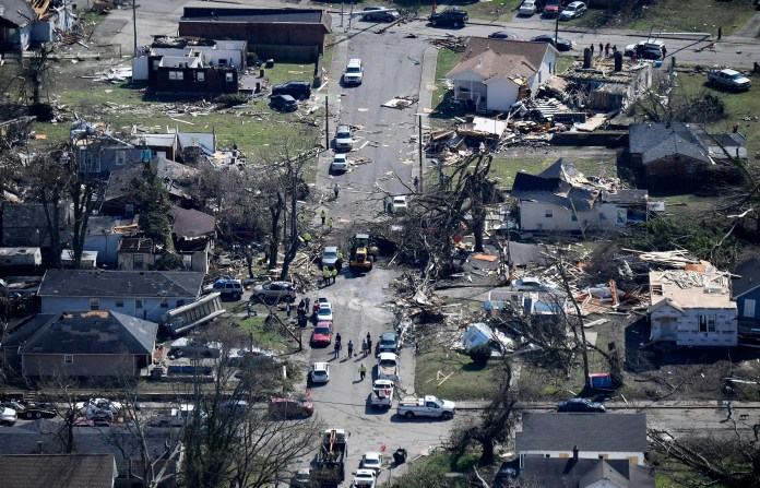 Damage in North Nashville as seen from a MNPD helicopter after a tornado touched down Tuesday, March 3, 2020 in Nashville, Tenn.