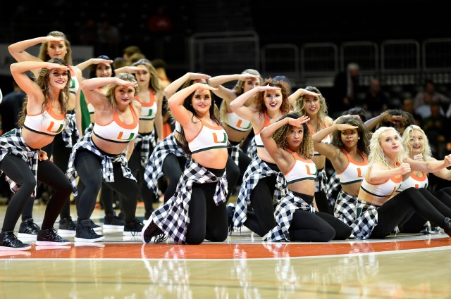 March 4: Miami cheerleaders perform during the against Virginia at Watsco Center.